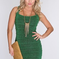 Green Pleated Sexy Bandage Dress