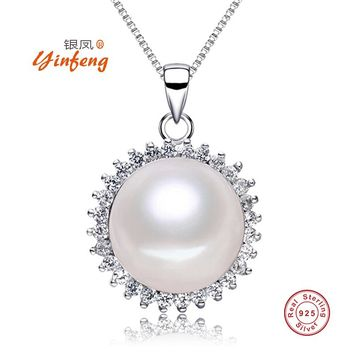 [MeiBaPJ] 2017 Fine Jewelry 925 Silver Necklace Elegant Sun Flower Natural Freshwater Pearl Jewelry For Women Long Chain 45cm