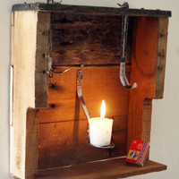 Candle Holder Shadow Box made from upcycled pallet by RustedCreek