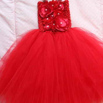Beautiful Red Satin Shabby Chic Flower Tutu Dress for Baby Girl First Birthday First Christmas 9-18 Months