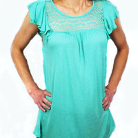 Lace Detail Baby Doll Blouse Mint