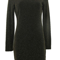 Gianni Bini Jasmin Metallic Knit Black & Gold Sheath Long Sleeve Dress - Medium