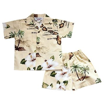 Voyage Yellow Hawaiian Boy Shirt & Shorts Set