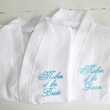 Wedding Robes White Mother of the Bride, Mother of the Groom Custom Embroidery Monogram Gifts