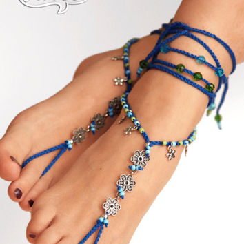 Boho Barefoot Sandals. Silver Gypsy Shoes. Barefoot sandal