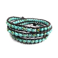 Amazon.com: 3 Rows Turquoise Natural Stones Wrap Bracelet on Brown Leather Ajustable closures Wristwear: Jewelry