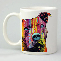 pitbull deanrusso dog full color design for mug, ceramic, awesome, good,amazing