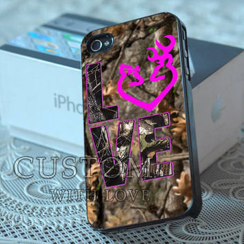 Love Browning Deer Camo - Rubber or Plastic Print Custom - iPhone 4/4s, 5 - Samsung S3 i9300, S4 i9500 - iPod 4, 5