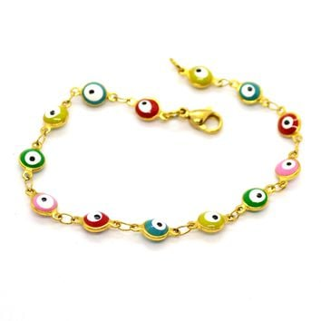 "(4-4014-h11) Gold Plated Stainless Steel Evil Eye Bracelet, 7-1/4""."