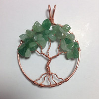 Copper Tree of Life, aventurine pendant, copper pendant, copper necklace, green necklace, silverbymaggie, tree of life necklace, gifts
