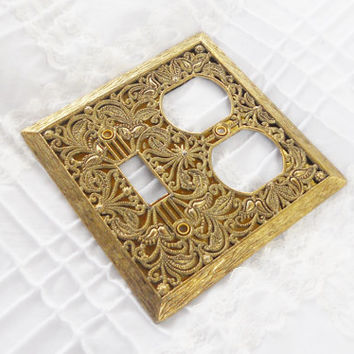 Salvaged Vintage Filigree Metal Switch Plate Cover - French Decor, Victorian Decor, Light Touch, Farmhouse Decor, Home Decor, French Decor