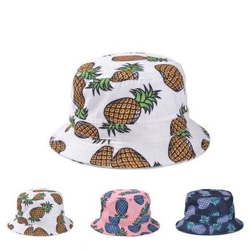 Hot! 2015 New Fashion Lovely Summer Casual Cotton Fishing Hats Pineapple Printed Bucket Hats For Women Girls Men = 5987540993