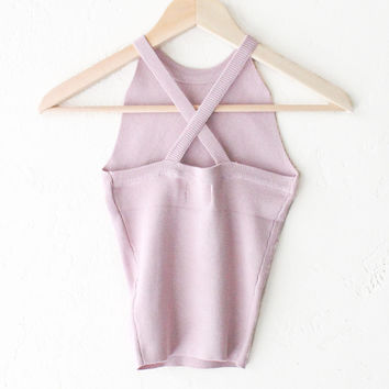 Criss Cross Back Sleeveless Top - Mauve