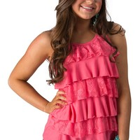 Panhandle Slim Women's Rose Pink Knit and Lace Ruffle Front Racer Back Tank Top