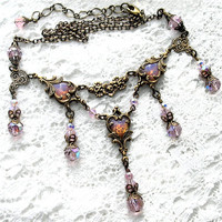 Captured Hearts - Pink Glass Opal Necklace - Antiqued Brass