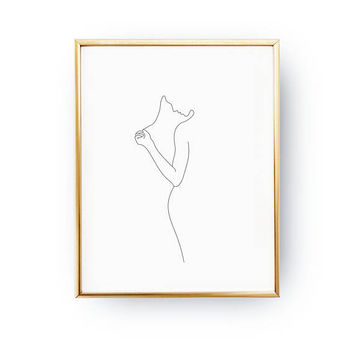 Strand Of Hair Print, Woman Figure Print, Black And White, Linear Drawing, Woman Art, Single Line, Minimal Art, Female Poster, Female Body