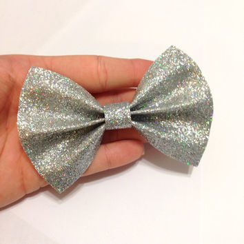 Silver Glitter Canvas Hair Bow on Alligator Clip - 4 Inches Wide - AFFORDABOW Line - Affordable and High Quality Hair Bows