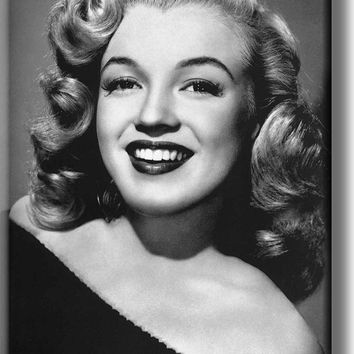 Marilyn Monroe Black and White Picture on Stretched Canvas, Wall Art Décor, Ready to Hang