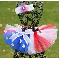 2018 Summer 4th Of July Red White & Blue Tutu With Headband