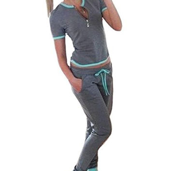 Akery Womens Sports Suit Casual Hoodies Sweatshirt and Sweat Pants Set
