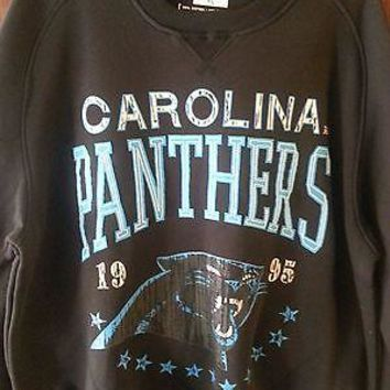 NEW CAROLINA  PANTHERS Crew Neck Crewneck 'BIG TIME' sweatshirt BLUE Authentic