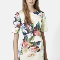 Women's Topshop Rose Print Satin A-Line Dress