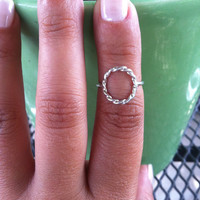 Silver Karma Ring , Sterling Silver Circle Ring , Eternity handmade open frame geometric ring , stacking rings , Rope Ring