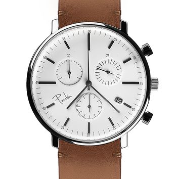Paulin C200E Chronograph Silver/Tan Brown