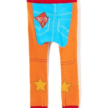 Tan & Blue Chaps Leggings - Infant
