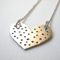 Polka Dot Heart Necklace - Sterling Silver Heart Hand Stamped Pendant