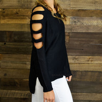 Slice n' Dice Black Cutout Sweater