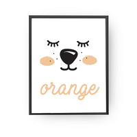 Orange Color Print, Kids Wall Decor, Educational Print, Nursery Poster, Classroom Decor, Nursery Wall Art, Typography Poster, Kids Print