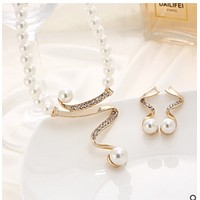 Explosive crystal diamond pearl necklace earrings pendant 2 sets bridal wedding jewelry