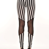 Women's Sexy Black White Stripe Stretchy Tights Jeans Leggings Thin Pants