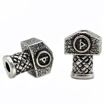 ac spbest 1pc High Quality Weight Viking Runes Beads Hammer for Bracelets for Pendant Necklace DIY for Beard Hair Beads C48