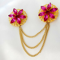Chatelaine Brooch Double with Gold Filigree and Rhinestones