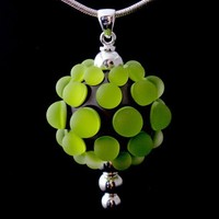Luminous Glass - Green and Silver Berry Extraordinaire Pendant - Free Shipping
