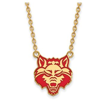 NCAA 14k Gold Plated Silver Arkansas State Enamel Lg. Pendant Necklace