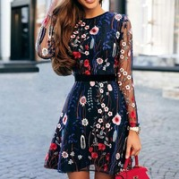 Fashion New Embroidery Floral Leaf  Long Sleeve Dress Women Navy Blue