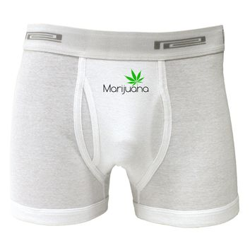 Marijuana Text and Leaf Boxer Briefs