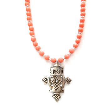 Ethiopian Cross Necklace, Boho Necklace, Long Beaded Necklace, Coral Necklace, Coral Beaded Necklace, Cross Pendant, Long Pendant Necklace