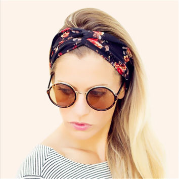 Fashion Women Wide Turban Headband Multicolored Flower Cross Elastic Headbands for Women HG144