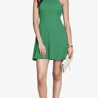 GREEN FIT AND FLARE HALTER DRESS from EXPRESS