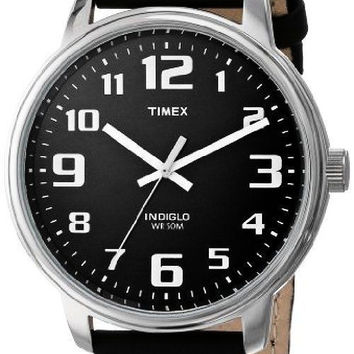 Timex Men's Large Easy Reader, Black Leather Watch, Indiglo