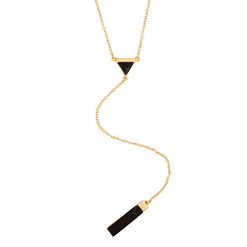 Onyx Delta Y-Chain Necklace