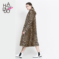 Haoduoyi Leopard pattern LOOKBOOK Pockets lady Faxu fur Coats Winter fashion women Outwears