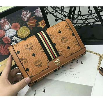 MCM 2018 new trend fashion classic printing logo pattern hipster chain bag F-AGG-CZDL brown