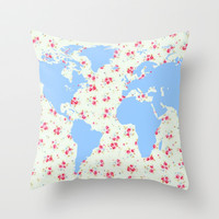 Floral world map with pretty vintage rose flowers background flower art girly hipster globe print Throw Pillow by iGalaxy