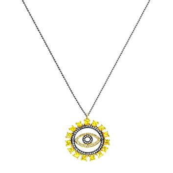 5.11ct Yellow Sapphire & Diamonds in 925 Sterling Silver Evil Eye Lucky Charm Necklace