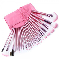 22pc. Soft Cosmetic Makeup Brush Set Pink + Pouch Bag Case